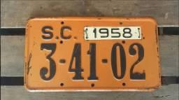 Título do anúncio: Placa De Carro Antiga Original Ano 1958 Em Excelente Estado!