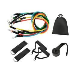 Kit Extensor Elástico Extensores 11 Peças Exercício Musculação Fitness Pilates
