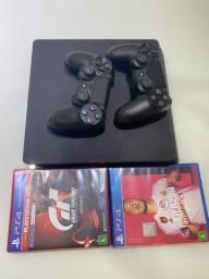 PS4 C/ dois controles e jogos originais