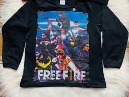 Camiseta infantil juvenil freefire manga longa