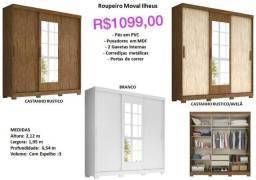 Título do anúncio: Ropeiro Moval Ilheus Guarda-Roupa C/ 03 Portas e 02 Gavetas, C/ Espelho, Puxadores em MDF.