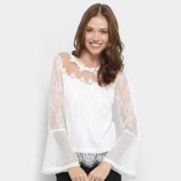Blusa Only Fashion Renda Feminina - Branco