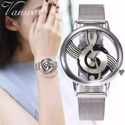 Relógio feminino clave de sol Prateado Entrego em Barra Mansa