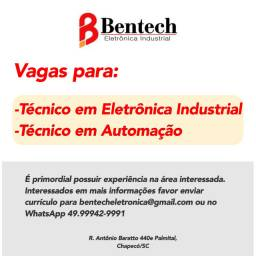 Vaga para Técnico em eletrônica e técnico em automação