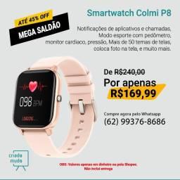 Smartwatch Colmi P8 Pulseira de Silicone Salmão Compatível com IPhone e iOS Promoção