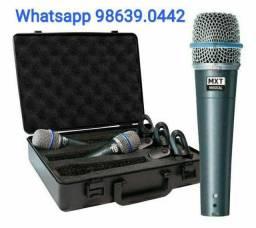 Kit com 3 Microfones Mxt Beta 57 com Maleta (Novo, aceito cartão)