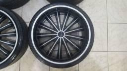 Título do anúncio: Jogo Roda Aro 22 furacão 5x114 com pneus Novos 235/30 R22
