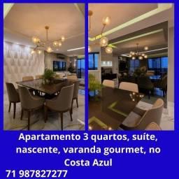 Título do anúncio: Lindo apartamento 3 quartos, 2 suítes, andar alto, vista mar, na Pituba