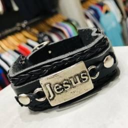 Pulseira Bracelete Masculina Couro Jesus