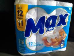 Papel higiênico Max Pure folha simples 12 rolos