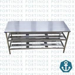 Mesa total inox/ bancada c/ cuba inox Portinox
