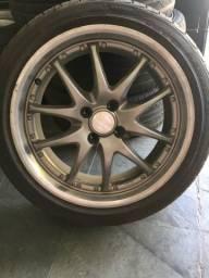 Jogo de rodas R17 tala 7 furacão 4x100 com quatro pneus novos junto