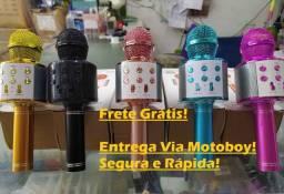 Microphone Com Som Bluetooth (Karaokê Portátil) Com Efeito Mixer - Frete Grátis!