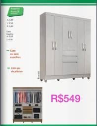 Título do anúncio: Roupeira Bruna 7P 06 Portas Com 2 Gavetas pequenas e 01 Gaveta Grande e Espelho opcional