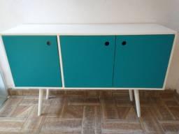 Armário branco e azul Retrô / Vintage - 3 portas