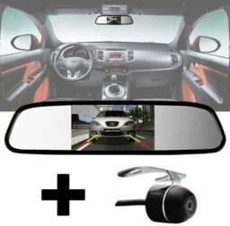 Kit estacionamento Espelho Retrovisor Monitor Tela Lcd 4.3 + Câmera Ré