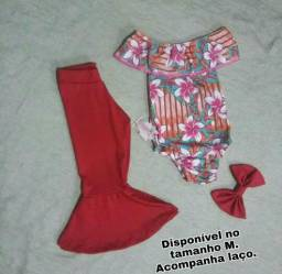 Conjunto infantil calça flare + body + laço.