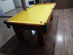 Mesa Madeira de Sinuca Cor Imbuia Tecido Amarelo Mod. UYLK0416