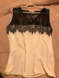 Blusa Branca Mosaico social tecido viscose Tam: M/G