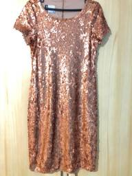 Vestido em paetê cobre