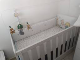 Cot 3 in 1 + cot kit with mosquito net + mobile + mattress + sheets + duvet