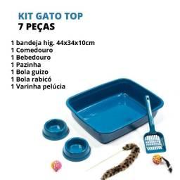 Kit Completo De Caixa De Areia Para Gatos Com Brindes Top + Comedouro e Bebedouro Azul