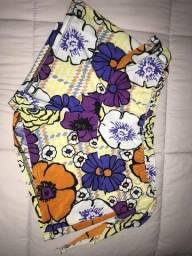 shorts florido com babado