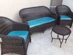 Conjunto de sofá maravilha em fibra sintética