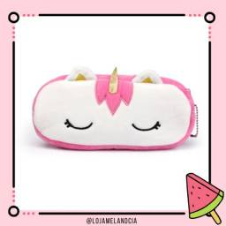 estojo pelucia unicornio rosa pink
