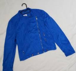 Jaqueta em camurça azul royal