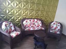 Conjunto de sofa livia em fibra sintética