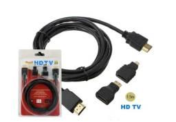 Título do anúncio: Cabo Hdmi 3 Em 1 Micro E Mini 1.5m 1080p Adaptador 3 Pontas