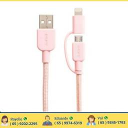 Cabo USB A-Macho - Micro USB Macho + Lightning