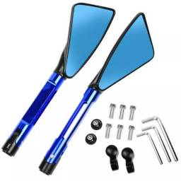 Retrovisor Esportivo Tipo Rizoma Tomok Aluminio Azul