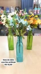 Vaso vidro com flor