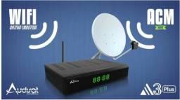 Receptor AudiSat A3 Plus HD Wi-Fi e Antena