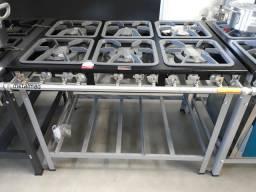 Fogão 6 bocas Baixa pressão 3duplas e 3 simples Metalmaq
