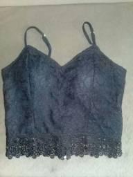 blusinha  preta estilo corpete de renda linda para o verão.
