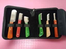 Kit 6 facas e estojo trimming para tosador Pet shop