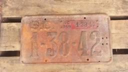 Título do anúncio: Placa Amarela Antiga 5 Números Estado De Sc De 1964!