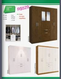 Título do anúncio: Roupeiro 7200 Guarda-Roupa Armário 06 Portas, 03 gavetas Espelhos pequenos opcional.