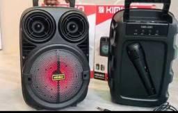 Caixa de som 1200w pmpo serie 338 com Bluetooth e microfone