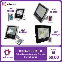 Título do anúncio: Refletor LED - Holofote - RGB com Controle | 30W