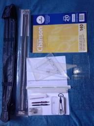 Kit desenho técnico (régua, esquadros, escalímetro,...)