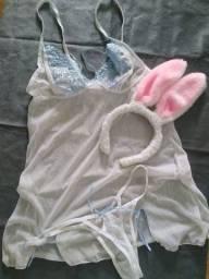 Baby doll coelhinha - acompanha camisola e calcinha
