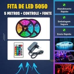 Fita Led 5m Ultra Rgb 5050 Prova D'agua + Fonte + Controle
