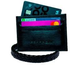 Kit couro Porta cartão + pulseira