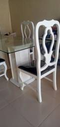 Título do anúncio: Mesa 4 cadeiras madeira vidro grosso