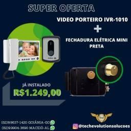 Título do anúncio: Kit Video Porteiro Interfone IVR 1010 Intelbras + Fechadura Elétrica
