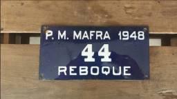 Título do anúncio: Rara! Placa Esmaltada De Carro Antiga Para Reboque Ano 1948